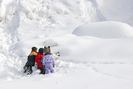 Children playing in the snow photo