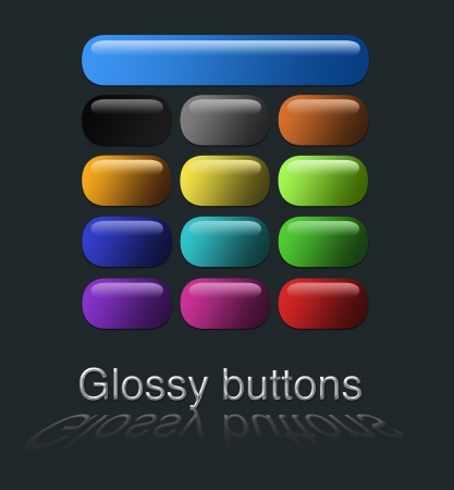 set square: isolated and colourful glossy buttons with reflections