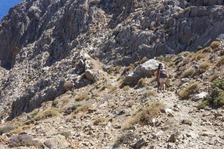 periferia: trekking a Traxoulas canyon a Metochi Lendas nella periferia di Creta, Grecia Archivio Fotografico
