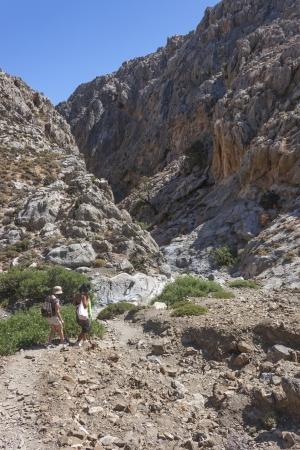 kreta: trekking at Traxoulas canyon at Metochi, Lendas  in the periphery of Crete, Greece  Stock Photo