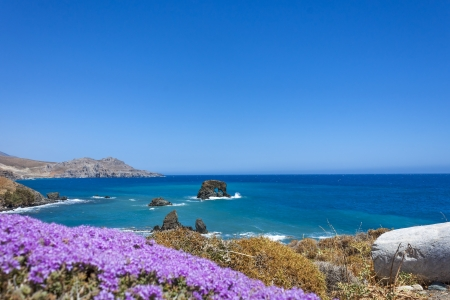 water thyme: the beautiful panorama at Lendas, Crete Stock Photo