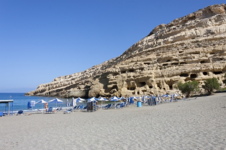 Matala beach, at matala, the city of hippies, Crete