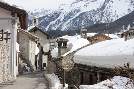 A group of farmsteads in the snow, Cogne, Aosta