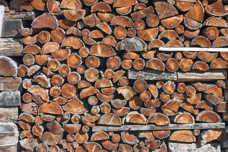 piled: Piled up firewood