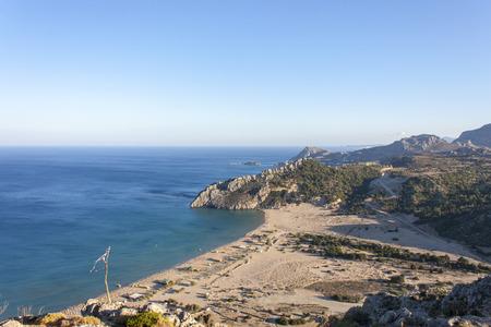 tsambika: a beautiful panorama of the Tsambika beach  Stock Photo