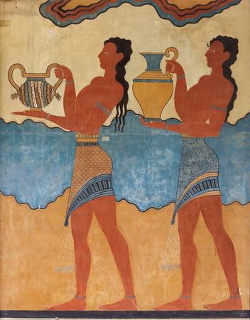 fresco: Ancient minoan fresco from Knossos, Crete Stock Photo