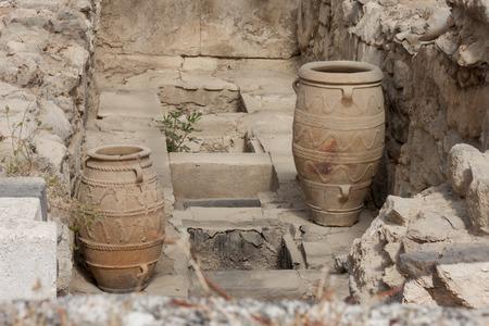 Clay jars at Knossos palace, heraklion, Crete, Greece