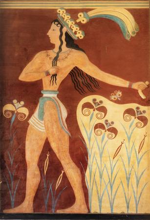minoan: Ancient minoan fresco from Knossos, Crete Stock Photo