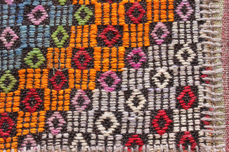 wool rugs: Greek rug handcrafted worked in patchwork Stock Photo