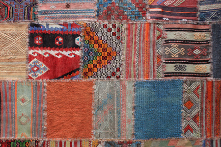 patchwork: Greek rug handcrafted worked in patchwork Stock Photo