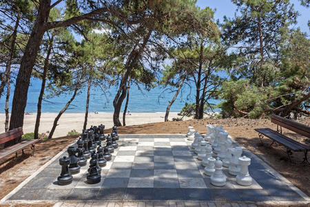 big chess board in Skala, Kefalonia Stock Photo