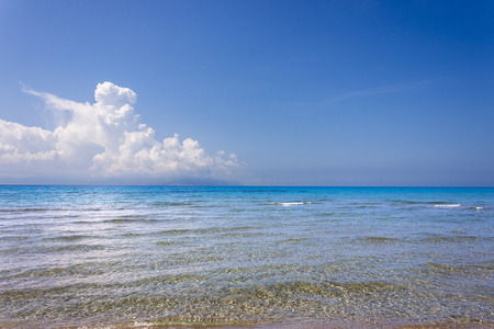 the sea in front of the Kaminia Beach in Kefalonia.