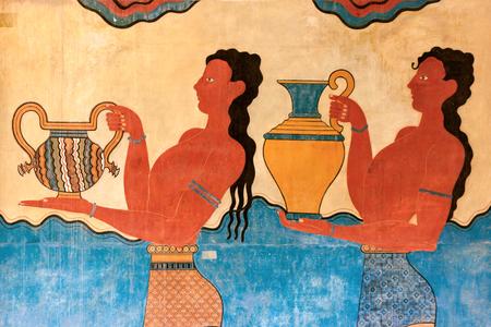 Cup Bearer Fresco from Knossos palace, Crete, Greece