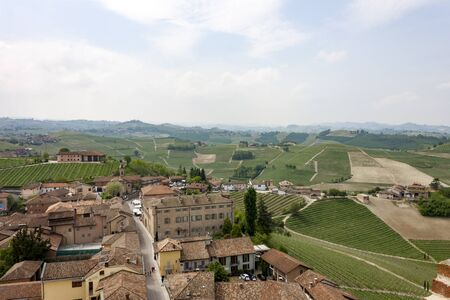 Aerial view of the vineyards of Barbaresco, Piedmont. Banco de Imagens - 127936643