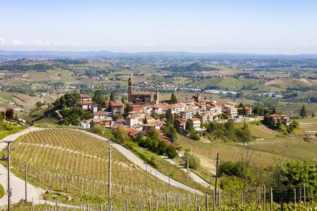 Aerial view of the vineyards of Castiglione Tinella, Piedmont. Banco de Imagens - 127936694