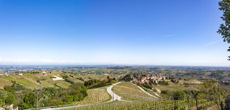 Aerial view of the vineyards of Castiglione Tinella, Piedmont.