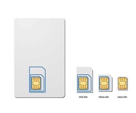 Three types of SIM Card - standard, micro and nano 版權商用圖片
