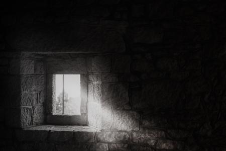 ladrillo: Ventana en una castle.Black medieval y white.San Marino
