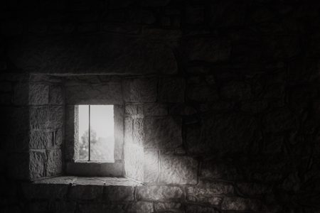 brick: Window in a medieval castle.Black and white.San Marino Editorial