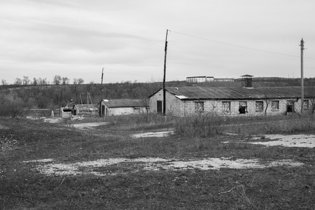 vacant lot: Abandoned stone building large farm on a vacant lot in the rural areas. Stock Photo