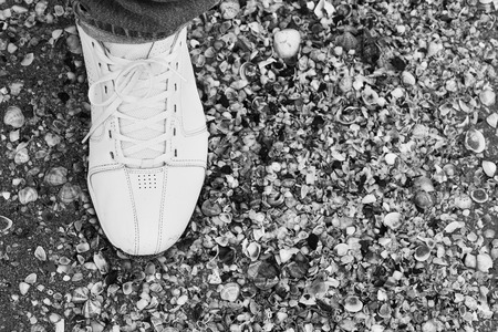 Male foot in sneakers on the sand among the many shells.