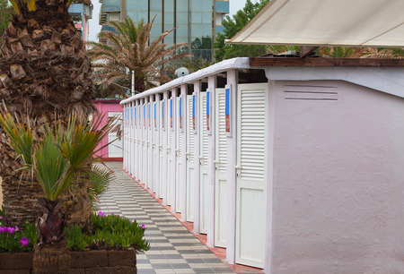 Beach cabins among palm trees and flowers close-up. Stock Photo