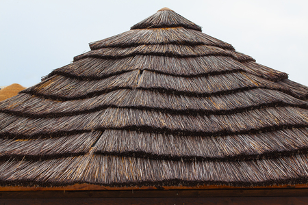 Thatched roof of a beach house close-up.