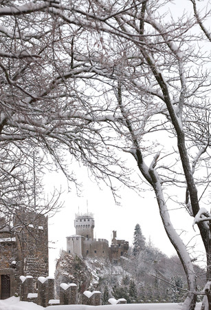 Winter landscape with a view of the fortress framed by tree branches.