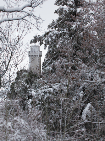 Beautiful winter landscape with views of the castle framed by tree branches.