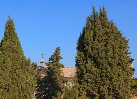 The cross on the roof of a church between the trees against the blue sky.