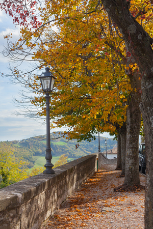 Stone footpath and street lights in the city park in autumn day.