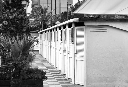Beach cabins among palm trees and flowers close-up. Reklamní fotografie