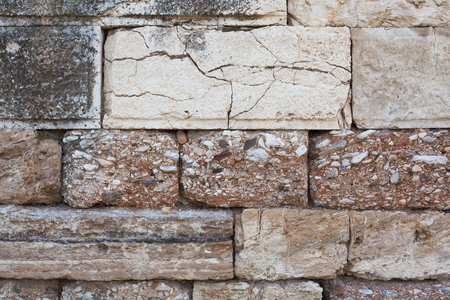 View of the stone wall of the fortress close-up, background texture.