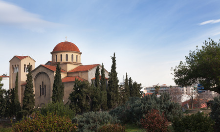 Ancient Greek church of red and white stone. Reklamní fotografie