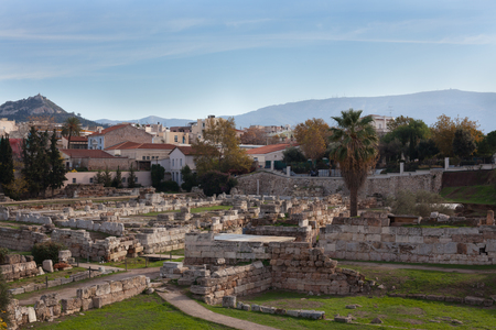 Ruins of ancient Greece in the city of Athens