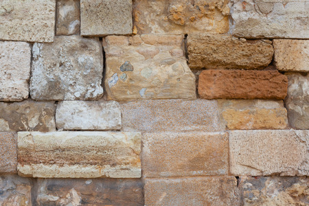 Ancient wall close-up. Background. Old stone wall.