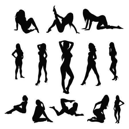 sexy girl dance: Sexy female poses - vector