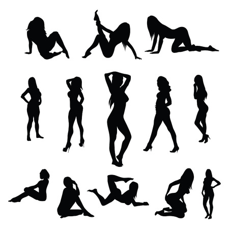 Sexy vrouwelijke poses - vector Stock Illustratie