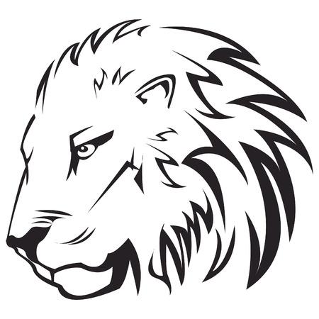 ライオン ヘッド アウトラインのベクトル図