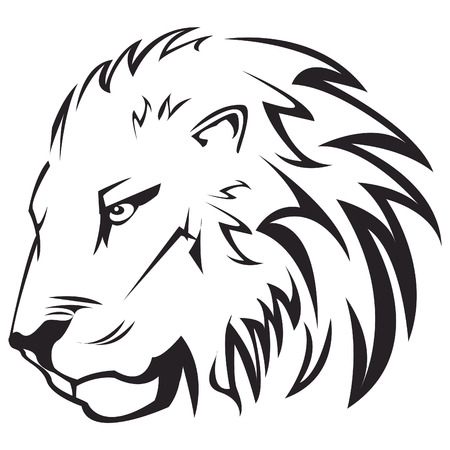 Vector illustration of lion head outline Çizim