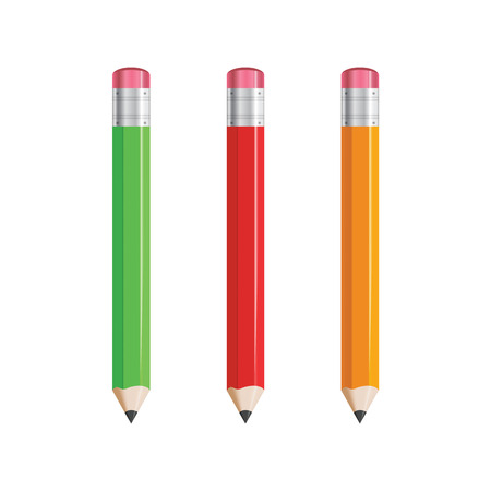Pencils - red, yellow, green, isolated vector