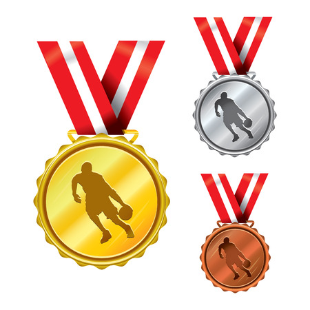 awarding: Set of Golden, Silver and Bronze Medals with Ribbons - basketball Illustration
