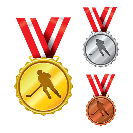 Set of Golden, Silver and Bronze Medals with Ribbons - Hockey