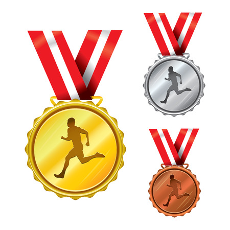 Set of Golden, Silver and Bronze Medals with Ribbons - running
