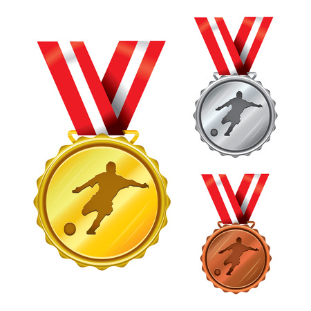 Set of Golden, Silver and Bronze Medals with Ribbons - soccer