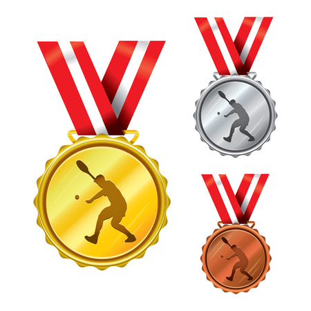 Set of Golden, Silver and Bronze Medals with Ribbons - Tennis Illustration