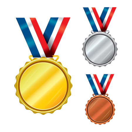 awarding: Set of Golden, Silver and Bronze Medals with Ribbons
