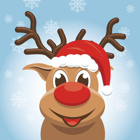 Christmas reindeer - rudolph red Vector