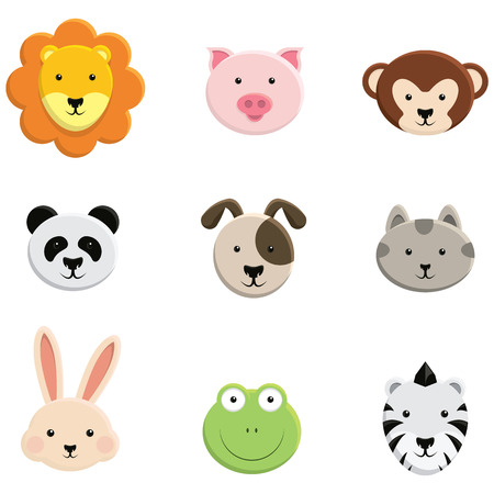 Baby Animal Faces - set isolated
