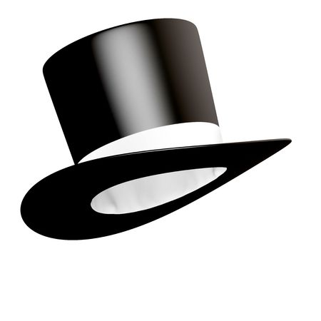 Big black cylinder hat with white ribbon  Stock Photo